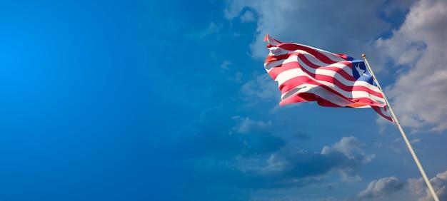 Bella bandiera nazionale dello stato della liberia con uno spazio vuoto su sfondo ampio