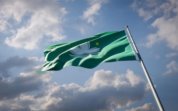 Bella bandiera nazionale dello stato di macao svolazzanti