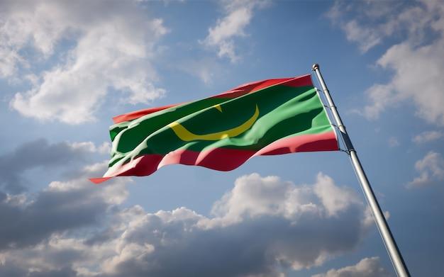 Bella bandiera nazionale dello stato della mauritania che fluttua