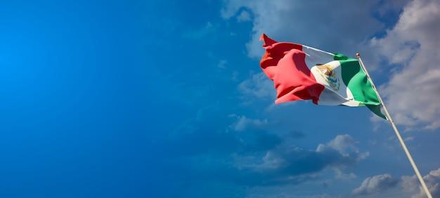 Bella bandiera nazionale dello stato del messico con uno spazio vuoto su sfondo ampio