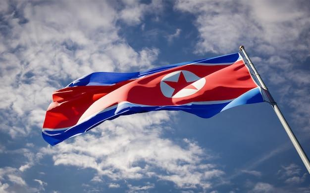 Bella bandiera nazionale dello stato della corea del nord che fluttua sul cielo blu
