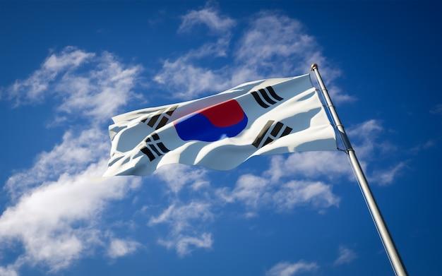 Bella bandiera nazionale dello stato della corea del sud che fluttua