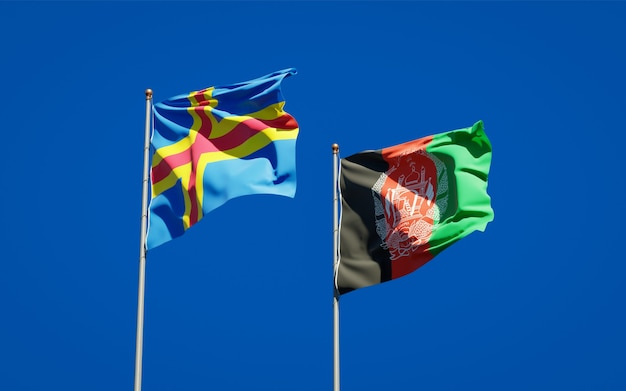 Belle bandiere dello stato nazionale dell'afghanistan e delle isole aland