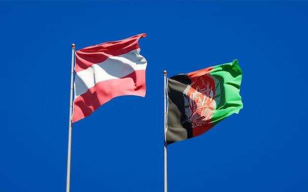 Belle bandiere di stato nazionali dell'afghanistan e dell'austria