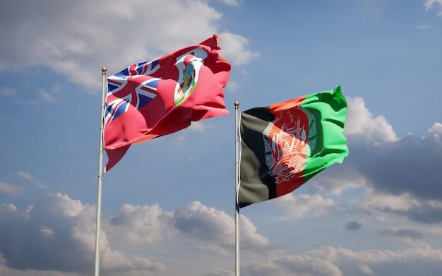 Belle bandiere dello stato nazionale dell'afghanistan e delle bermuda