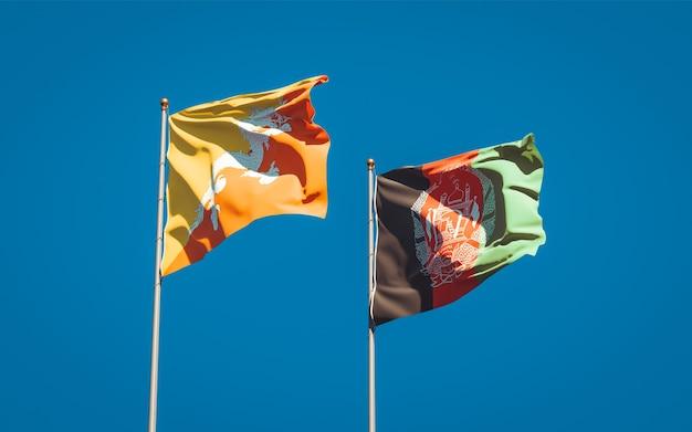 Belle bandiere di stato nazionali dell'afghanistan e del bhutan