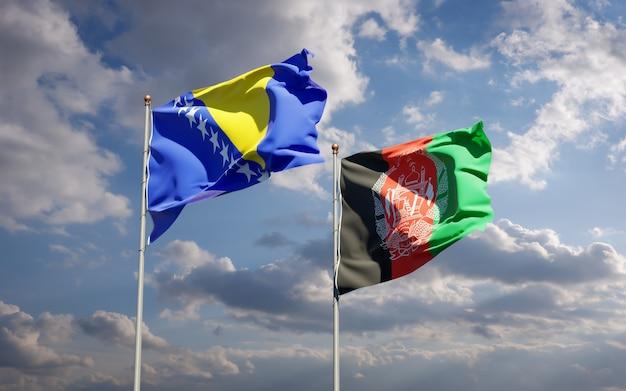 Belle bandiere nazionali di stato dell'afghanistan e della bosnia-erzegovina