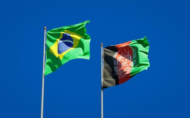 Belle bandiere di stato nazionali dell'afghanistan e del brasile