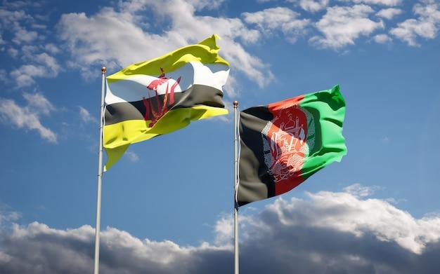 Belle bandiere di stato nazionali dell'afghanistan e del brunei