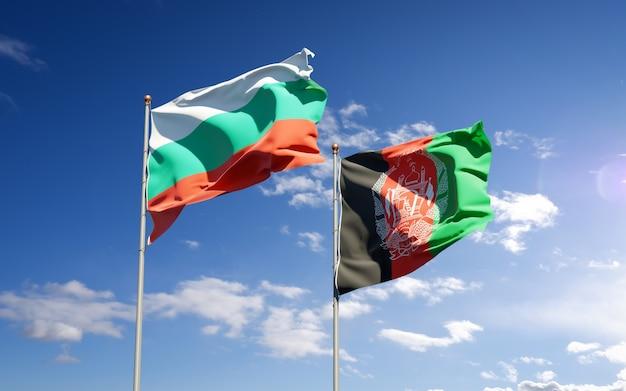 Belle bandiere di stato nazionali dell'afghanistan e della bulgaria