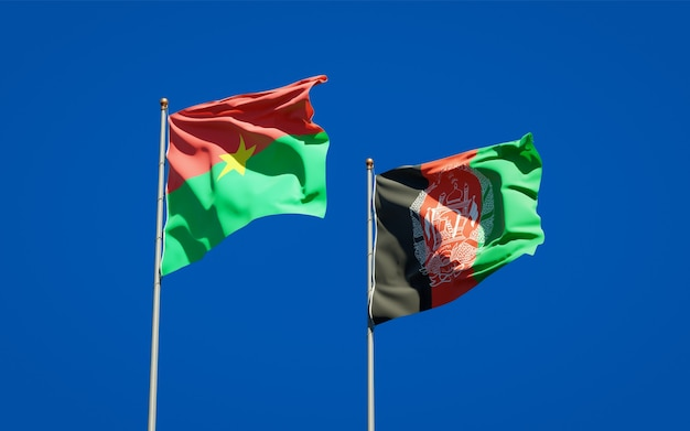 Belle bandiere di stato nazionali dell'afghanistan e del burkina faso