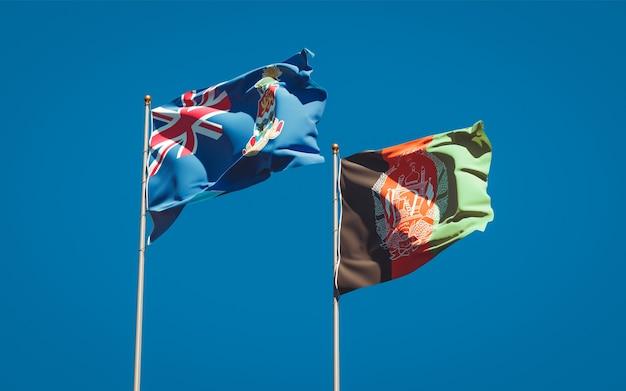 Belle bandiere dello stato nazionale dell'afghanistan e delle isole cayman