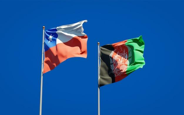 Belle bandiere di stato nazionali dell'afghanistan e del cile