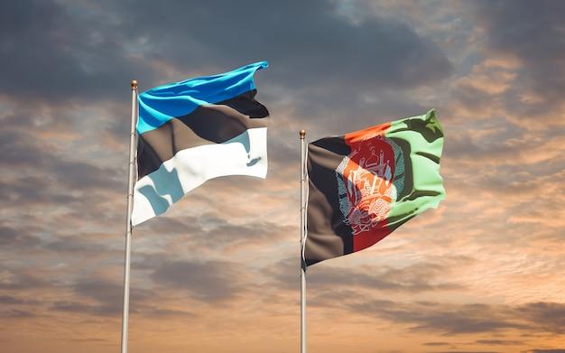Belle bandiere di stato nazionali dell'afghanistan e dell'estonia