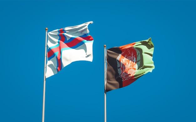 Belle bandiere dello stato nazionale dell'afghanistan e delle isole faroe