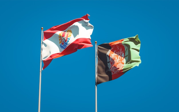 Belle bandiere di stato nazionali dell'afghanistan e della polinesia francese