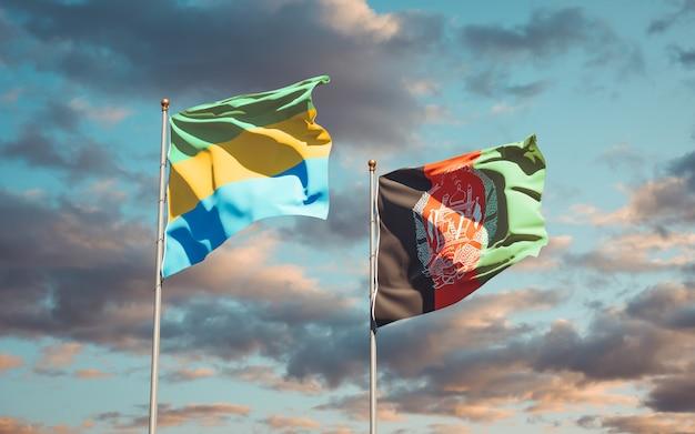 Belle bandiere nazionali di stato dell'afghanistan e del gabon