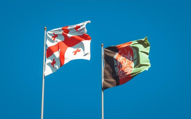Belle bandiere di stato nazionali dell'afghanistan e della georgia