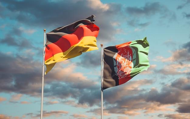 Belle bandiere di stato nazionali dell'afghanistan e della germania