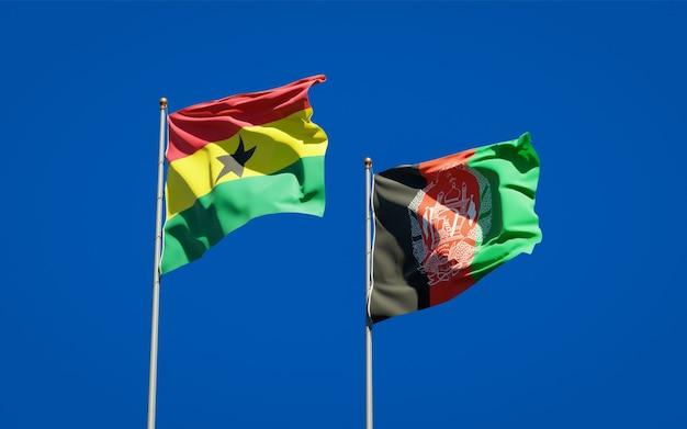 Belle bandiere di stato nazionali dell'afghanistan e del ghana