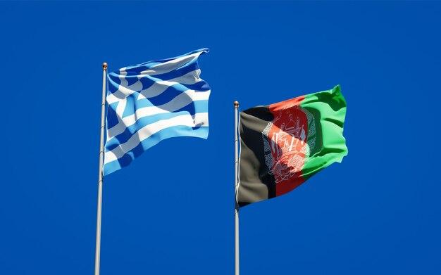 Belle bandiere di stato nazionali dell'afghanistan e della grecia