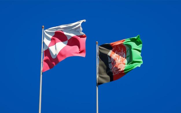 Belle bandiere di stato nazionali dell'afghanistan e della groenlandia