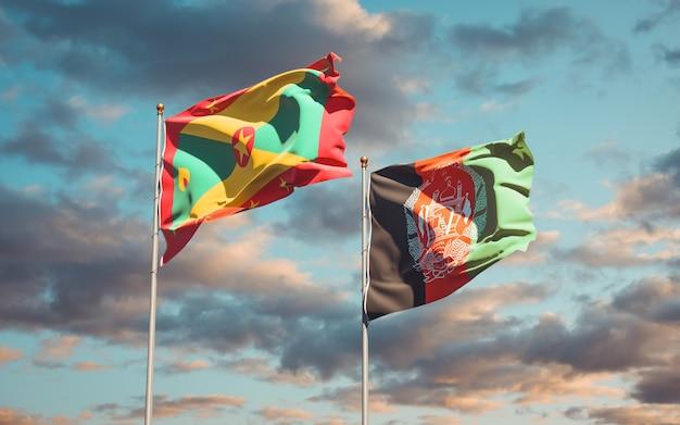 Belle bandiere di stato nazionali dell'afghanistan e grenada