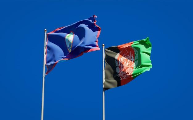 Belle bandiere dello stato nazionale dell'afghanistan e del guam