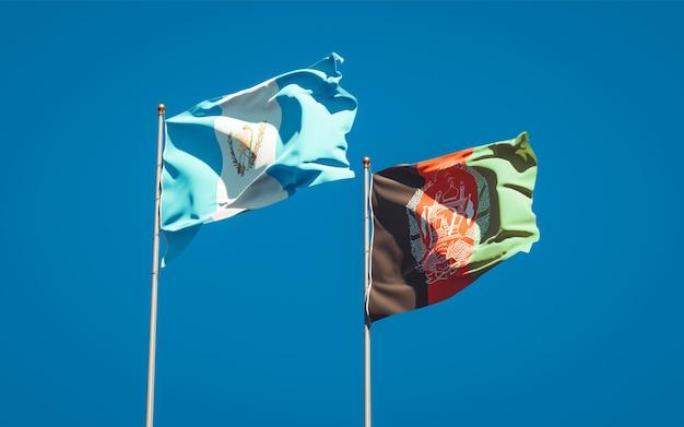 Belle bandiere di stato nazionali dell'afghanistan e del guatemala