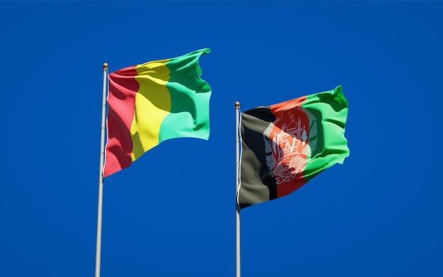 Belle bandiere nazionali di stato dell'afghanistan e della guinea