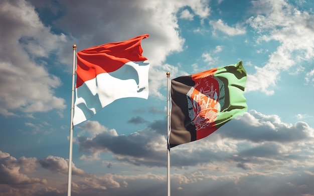 Belle bandiere di stato nazionali dell'afghanistan e dell'indonesia