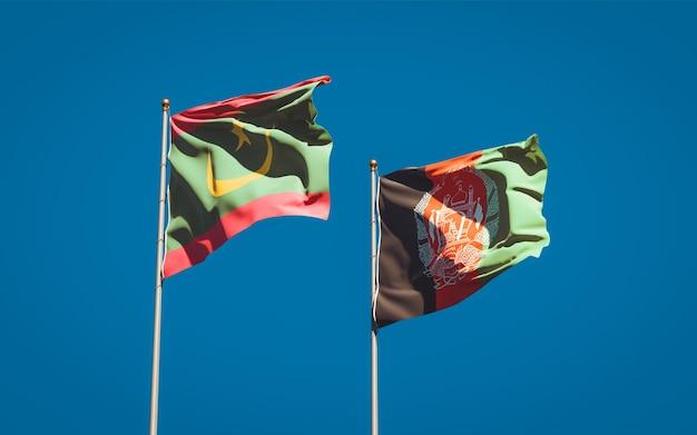 Belle bandiere di stato nazionali dell'afghanistan e della mauritania