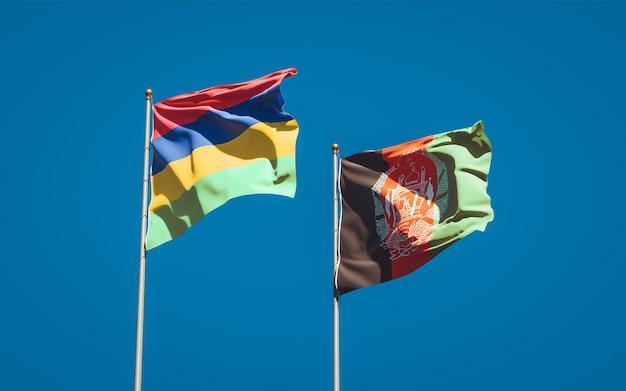 Belle bandiere dello stato nazionale dell'afghanistan e delle mauritius