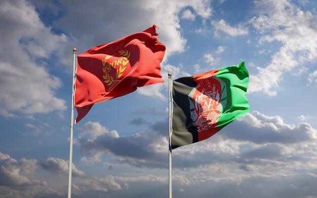 Belle bandiere di stato nazionali dell'afghanistan e della nova roma