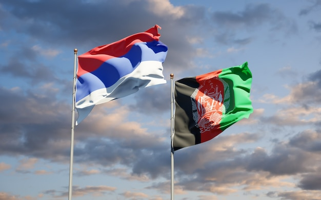 Belle bandiere dello stato nazionale dell'afghanistan e della republika srpska
