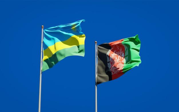 Belle bandiere di stato nazionali dell'afghanistan e del ruanda
