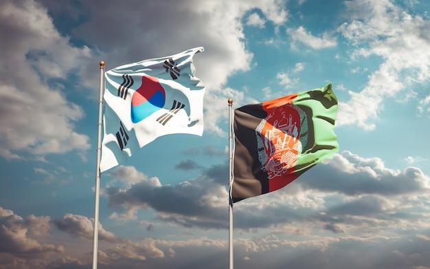 Belle bandiere di stato nazionali dell'afghanistan e della corea del sud