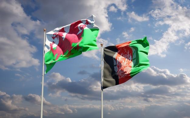 Belle bandiere dello stato nazionale dell'afghanistan e del galles