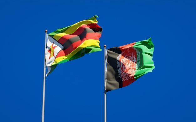 Belle bandiere di stato nazionali dell'afghanistan e dello zimbabwe