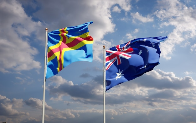 Belle bandiere di stato nazionali dell'australia e delle isole aland insieme