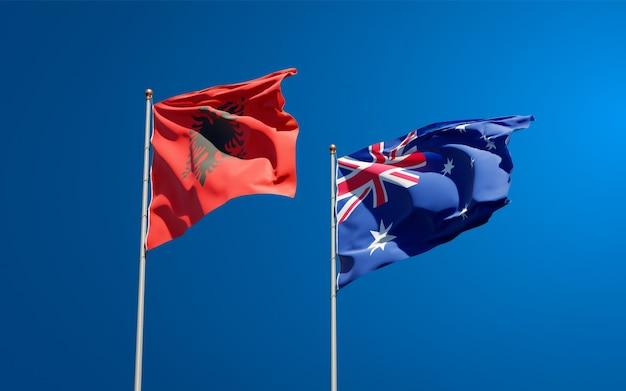 Belle bandiere di stato nazionali di australia e albania insieme