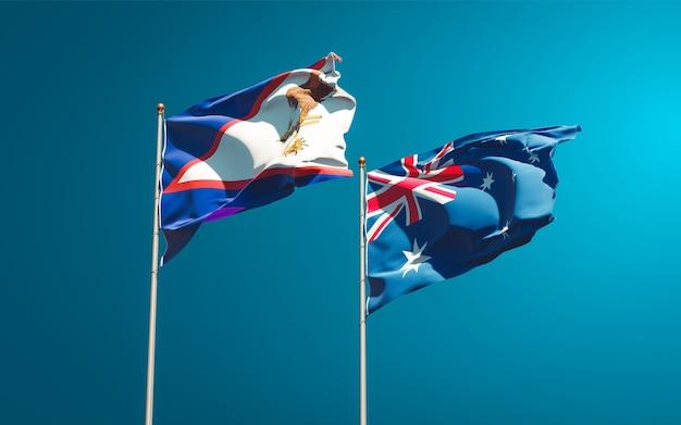 Belle bandiere di stato nazionali dell'australia e delle samoa americane insieme