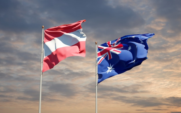 Belle bandiere di stato nazionali dell'australia e dell'austria insieme