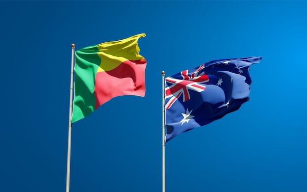 Belle bandiere di stato nazionali dell'australia e del benin insieme