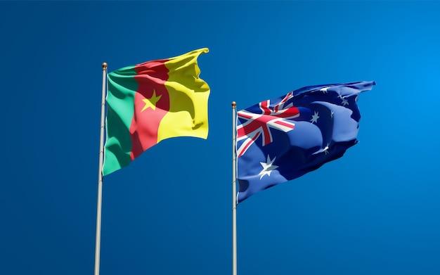 Belle bandiere nazionali di stato dell'australia e del camerun insieme