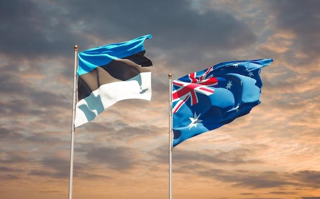 Belle bandiere di stato nazionali dell'australia e dell'estonia insieme