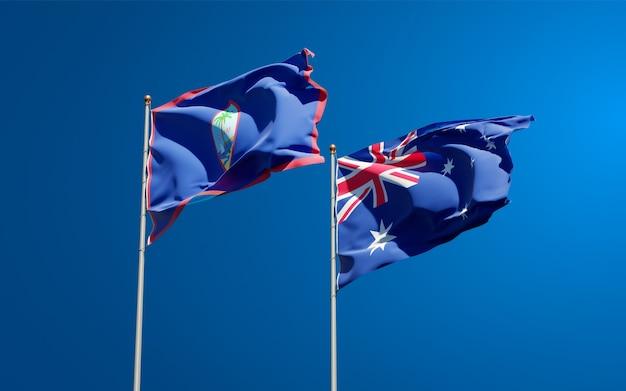 Belle bandiere dello stato nazionale dell'australia e del guam insieme