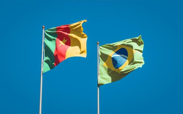 Belle bandiere dello stato nazionale del brasile e del camerun insieme sul cielo blu