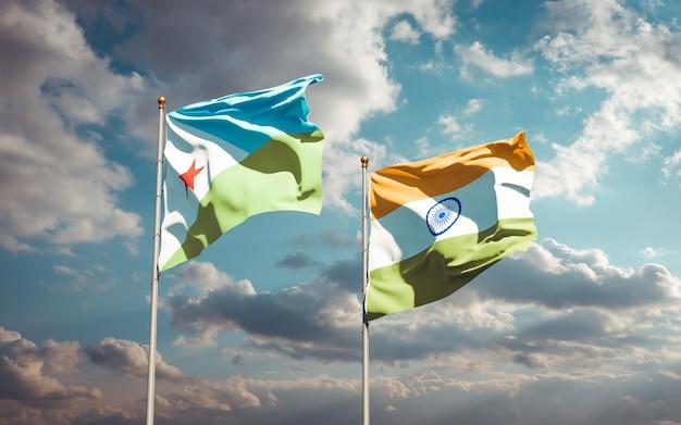 Belle bandiere nazionali dello stato di gibuti e india insieme