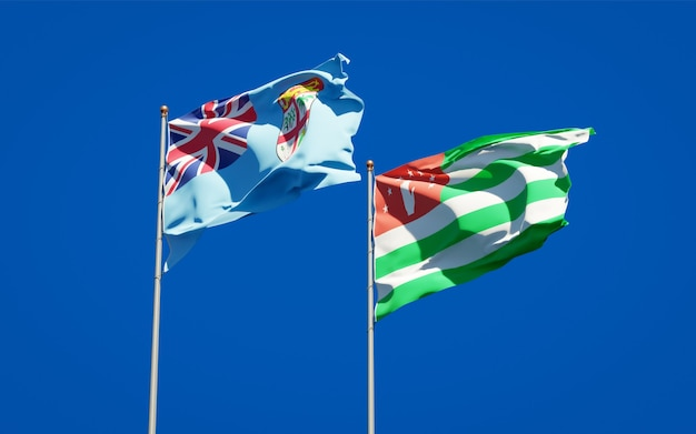 Belle bandiere di stato nazionali di fiji e abkhazia insieme